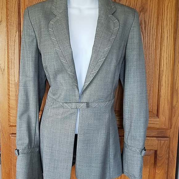 Escada Jackets & Blazers - Escada gray, striped trim tailored jacket 36
